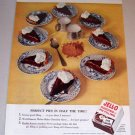 1953 Color Print Ad Jello Pudding Pie Filling