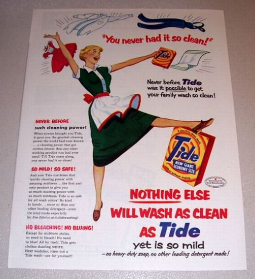 1953 Color Art Print Ad Tide Detergent