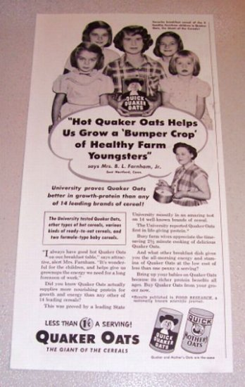 1953 Print Ad Quaker Oats Mrs. B.L. Farnham Jr