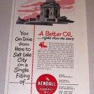 1953 Print Ad Kendall Motor Oil Pennsylvania Memorial Gettysburg