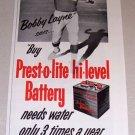 1953 Print Ad Prest-o-lite Battery Celebrity NFL Lions Quarterback Bobby Layne