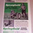 1954 Print Ad Springfield Garden Tractor