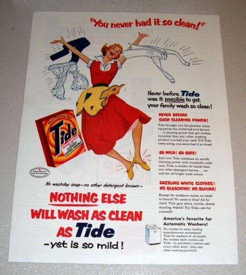 1954 Tide Detergent Color Art Print Ad