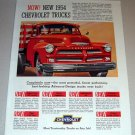 1954 Chevrolet Stake Bed Truck Color Print Ad