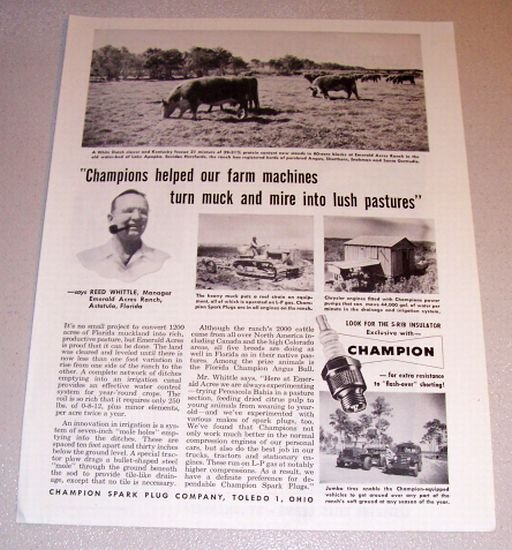 1954 Print Ad Champion Spark Plugs Reed Whittle Emerald Florida