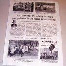 1954 Print Ad Champion Spark Plugs Elbert Brigham St. Albans Vt