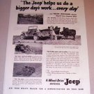 1954 Print Ad 4 Wheel Drive Universal Jeep William Cruickshank Ringwood Illinois