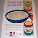 1954 Quaker Oats Oatmeal Color Print Ad - 5 Treats A Week