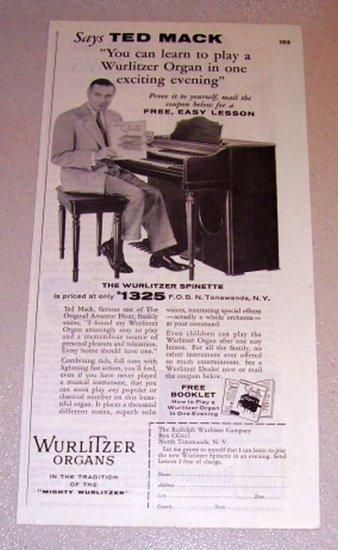 1954 Print Ad Wurlitzer Spinette Organ Celebrity Ted Mack