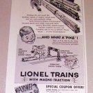 1954 Lionel Toy Train Locomotives Print Ad
