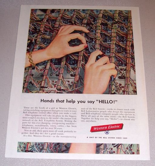 1954 Bell System Western Electric Switching Equipment Color Bingham Art Print Ad
