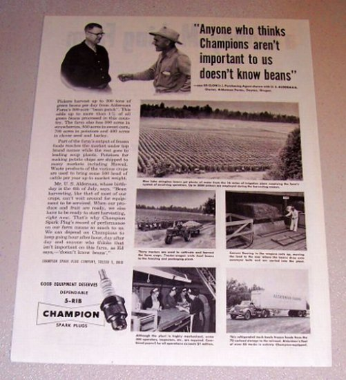 1954 Print Ad Champion Spark Plugs Ed Clow U. S. Alderman Dayton Oregon