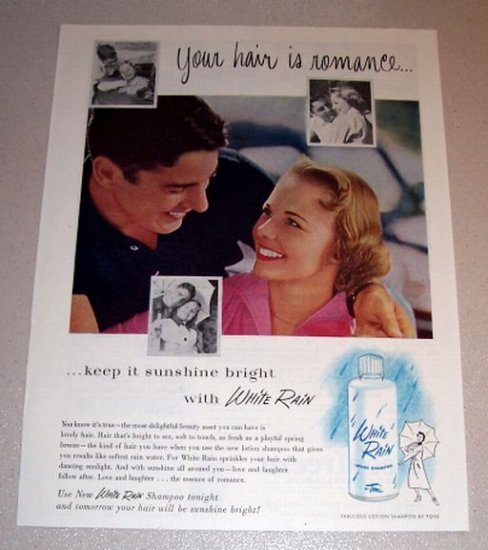 1954 White Rain Lotion Shampoo Color Print Ad