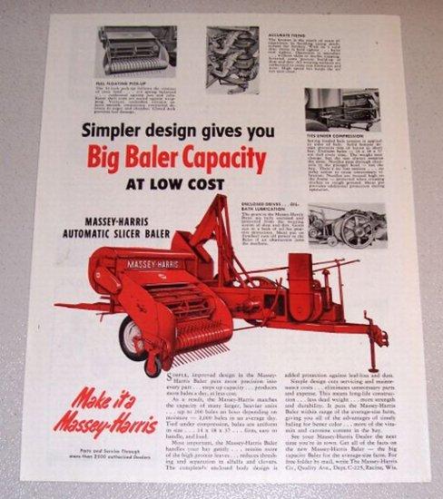 1953 Massey Harris Automatic Slicer Baler Farm Print Ad