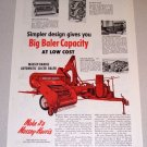 1953 Massey Harris Automatic Slicer Baler Farm Print Ad