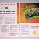 1961 John Deere Tractor Engine 2 Page Color Print Ad