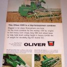 1965 Oliver 525 Self Propelled Combine Farm Equipment Color Print Ad
