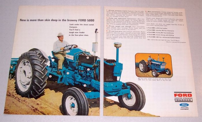 1966 Ford 5000 Farm Tractor 2 Page Color Print Ad