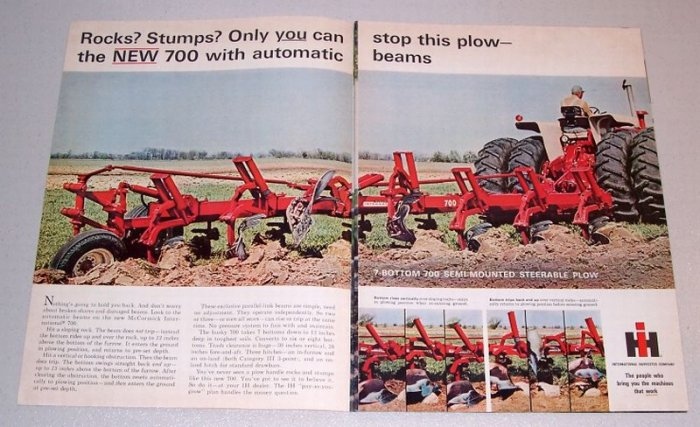 1966 International Harvester 7 Bottom 700 Semi-Mounted Steerable Plow 2 Page Color Print Ad