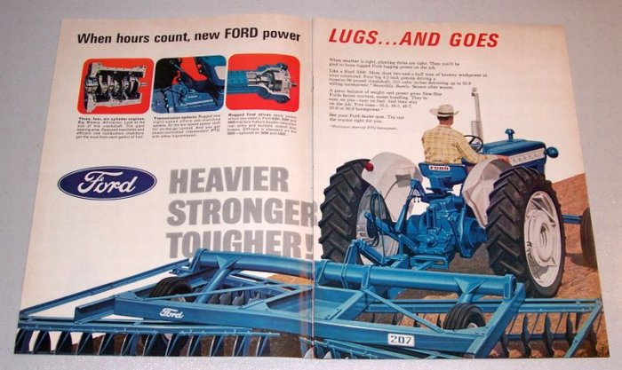 1966 Ford 5000 Farm Tractor and 207 Disk 2 Page Color Print Ad