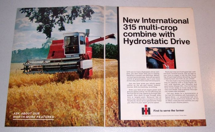 1968 International Harvester 315 Multi-Crop Combine 2 Page Color Print Ad