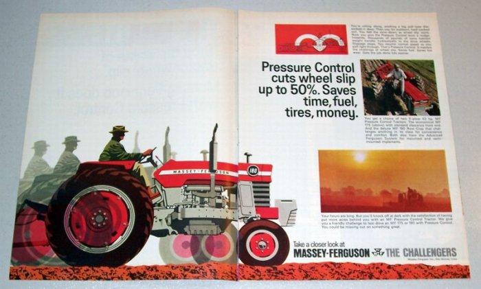 1968 Massey Ferguson 180 Farm Tractor Color Art 3 Page Color Print Ad