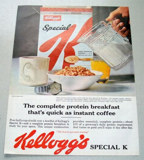1961 Kellogg S Special K Cereal Color Print Ad