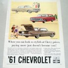 1961 Chevrolet Automobiles Color Print Car Ad
