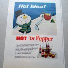 1969 Dr Pepper Cola Snowman Art Color Print Soda Ad