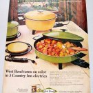 1969 West Bend Country Inn Electric Skillets Color Print Ad