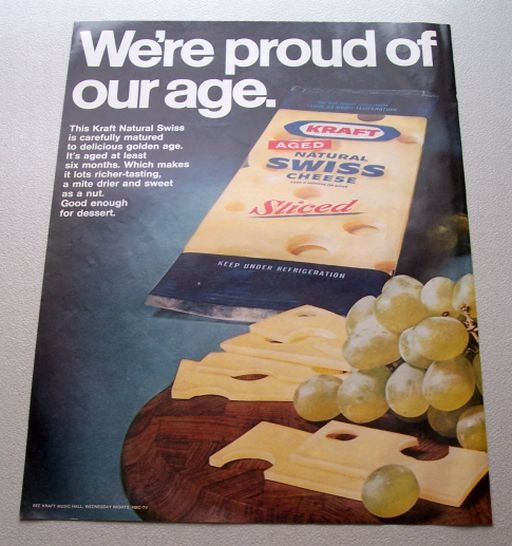 1969 Kraft Sliced Natural Swiss Cheese Color Print Ad