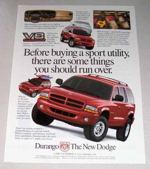 1998 Dodge Durango Sport SUV Color Print Ad