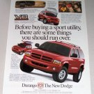 1998 Dodge Durango Sport SUV Color Print Ad