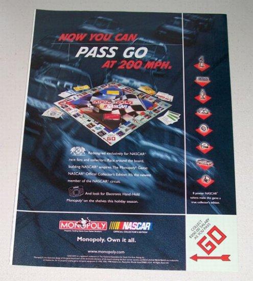 1998 Nascar Edition Monopoly Board Game Color Print Ad