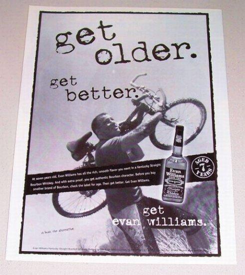 1998 Evan Williams Straight Bourbon Whiskey Bicycling Print Ad