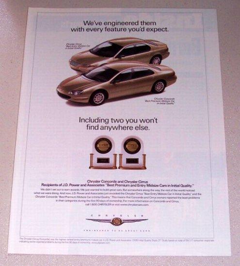 1998 Chrysler Cirrus Concorde Automobiles Color Print Car Ad