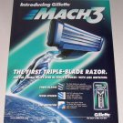 1998 Gillette Mach 3 Triple Blade Razor Color Print Shaving Ad