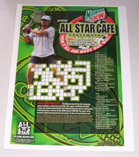 1998 Mountain Dew All Star Cafe Crosswords Color Print Ad Tennis Celebrity Andre Agassi