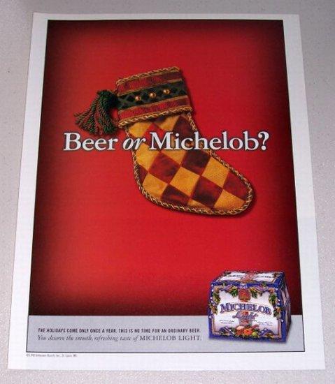 1998 Michelob Light Beer Christmas Theme Color Print Ad