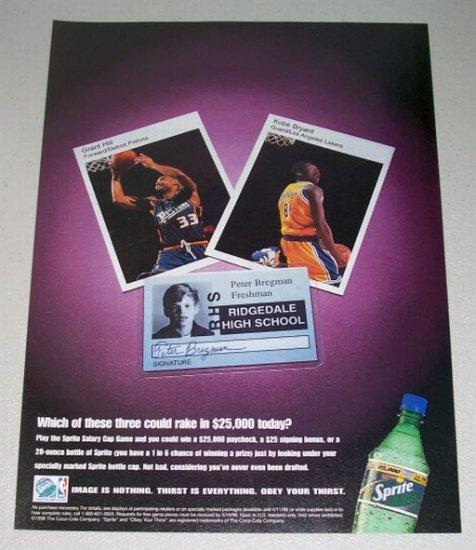 1998 Sprite Cola Color Print Ad NBA Celebrities Grant Hill Kobe Bryant