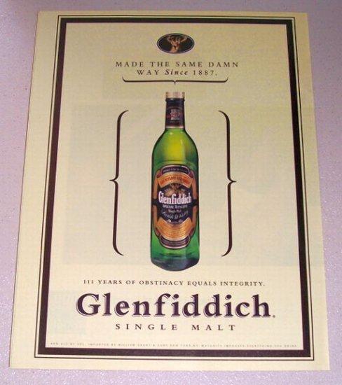 1998 Glenfiddich Scotch Whisky Color Print Liquor Ad