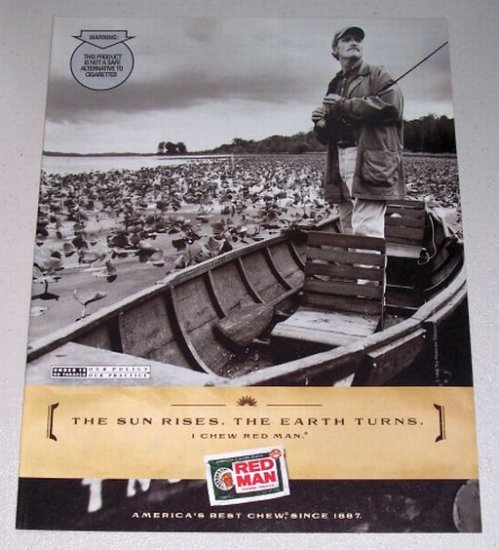 1998 RED MAN Pouch Tobacco Fishing Color Print Tobacco Ad