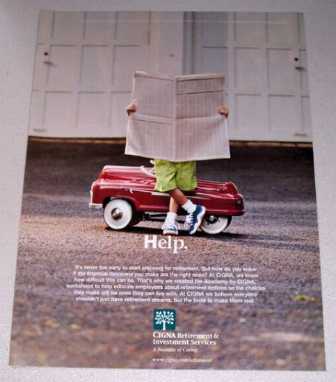 1998 CIGNA Retirment Investment Services Red Pedal Car Color Print Ad