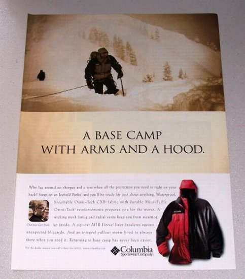 1998 Columbia Icefield Parka Sportswear Snow Skiing Color Print Ad