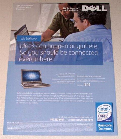 2007 Dell Latitude 630 Notebook Laptop Color Print Computer Ad