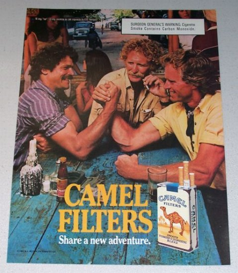 1987 Camel Cigarettes Arm Wrestling Color Print Ad with Carbon Monoxide Warning