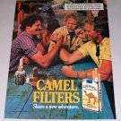 1987 Camel Cigarettes Arm Wrestling Color Print Ad with Pregnancy Warning