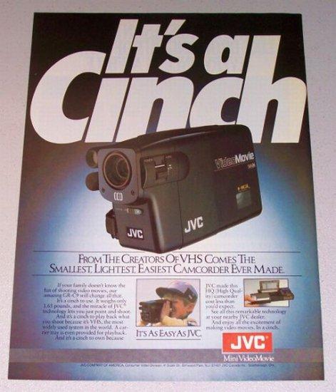 1987 JVC GR-C9 Video Movie Camcorder Color Print Ad