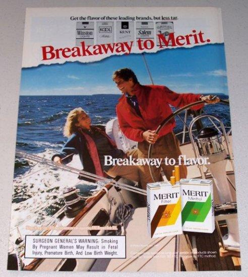 1987 Merit Cigarettes Sailing Boating Color Print Tobacco Ad
