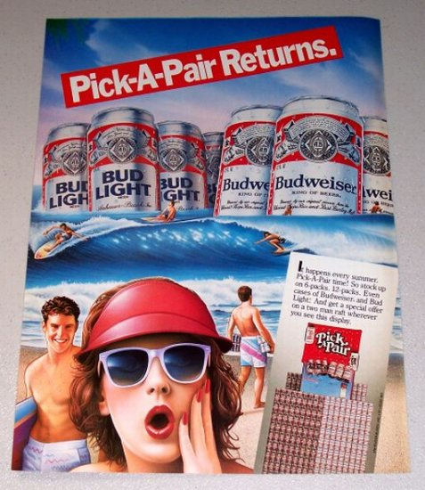 1987 Budweiser Bud Light Beer Pick A Pair Beach Surfing Theme Color Print Brewery Art Ad